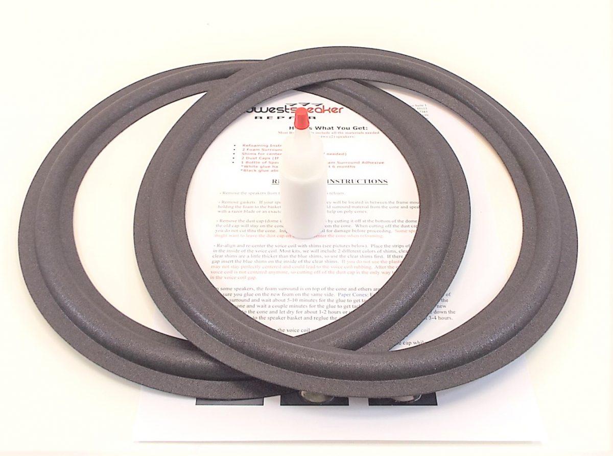 2 Two 12 Foam Speaker Surrounds w//Speaker Repair Refoam Instruction /& Glue